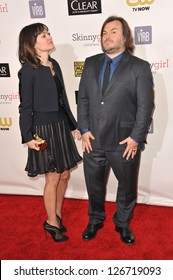 SANTA MONICA, CA - JANUARY 10, 2013: Jack Black & wife Tanya Haden at the 18th Annual Critics' Choice Movie Awards at Barker Hanger, Santa Monica Airport.