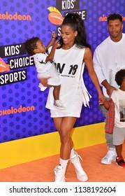 SANTA MONICA, CA. July 19, 2018: Russell Wilson, Ciara, Sienna Princess Wilson & Future Zahir Wilburn at the Nickelodeon Kids' Choice Sports Awards 2018 at Barker Hangar