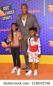 SANTA MONICA, CA. July 19, 2018: P. J. Tucker, Aaliyah Tucker & King Tucker at the Nickelodeon Kids' Choice Sports Awards 2018 at Barker Hangar