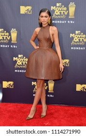 SANTA MONICA, CA - June 16, 2018: Zendaya at the 2018 MTV Movie & TV Awards at the Barker Hanger, Santa Monica Airport