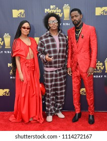 SANTA MONICA, CA - June 16, 2018: Tessa Thompson, Boots Riley & Lakeith Stanfield at the 2018 MTV Movie & TV Awards at the Barker Hanger, Santa Monica Airport