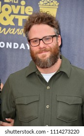 SANTA MONICA, CA - June 16, 2018: Seth Rogen at the 2018 MTV Movie & TV Awards at the Barker Hanger, Santa Monica Airport