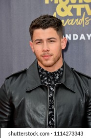 SANTA MONICA, CA - June 16, 2018: Nick Jonas at the 2018 MTV Movie & TV Awards at the Barker Hanger, Santa Monica Airport