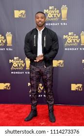SANTA MONICA, CA - June 16, 2018: Michael B. Jordan at the 2018 MTV Movie & TV Awards at the Barker Hanger, Santa Monica Airport