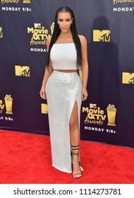 SANTA MONICA, CA - June 16, 2018: Kim Kardashian West at the 2018 MTV Movie & TV Awards at the Barker Hanger, Santa Monica Airport