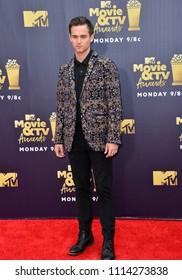 SANTA MONICA, CA - June 16, 2018: Brandon Flynn at the 2018 MTV Movie & TV Awards at the Barker Hanger, Santa Monica Airport