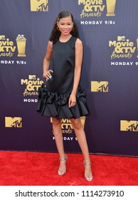 SANTA MONICA, CA - June 16, 2018: Storm Reid  at the 2018 MTV Movie & TV Awards at the Barker Hanger, Santa Monica Airport