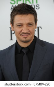 SANTA MONICA, CA - MARCH 1, 2014: Jeremy Renner at the 2014 Film Independent Spirit Awards on the beach in Santa Monica, CA.