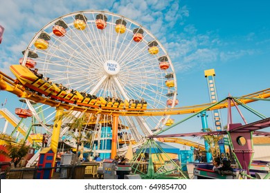 SANTA MONICA, CA - May 10, 2017: The Ferris Wheel at Santa Monica Pier. The pier and its attractions are a popular destination for tourists and locals.