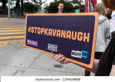 SANTA MONICA, CA - OCTOBER 3, 2018: Protesters gather in Santa Monica to protest Brett Kavanaugh's bid for Supreme Court Justice.