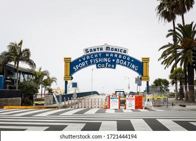 Santa Monica, CA / United States April 28 2020: Santa Monica Pier closure due to COVID-19