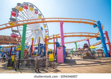 Santa Monica, Ca, USA - April 30, 2018 : The best view of Pacific Park oceanfront amusement at Santa Monica pier.