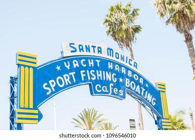 Santa Monica, Ca, USA - April 30, 2018:  Welcoming arch or Main entrance to the pier at Santa Monica pier.