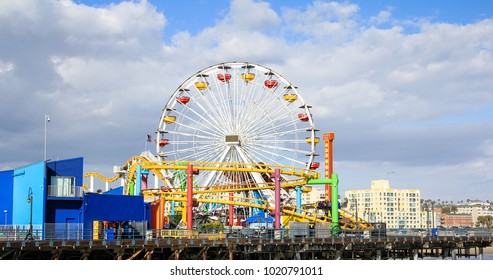 Santa Monica, CA / USA - May 18 2011: Ferris Wheel of Santa Monica Pier on a sunny day