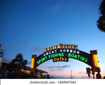 Santa Monica, CA / U.S.A. - September 4th 2019: The entrance of Santa Monica Pier, famous sign for tourists