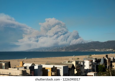 Santa Monica California 9th November 2018, California Wildfires view from Santa Monica  Beach in the morning