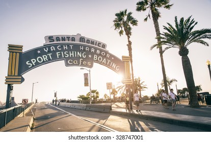SANTA MONICA, CALIFORNIA - OCTOBER 12, 2015 : welcoming arch in Santa Monica, California. The city has 3.5 miles of beach locations and 340 days of sunshine a year.