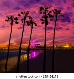 Santa Monica California sunset on Pier Ferris wheel and reflection on beach wet sand [photo illustration]