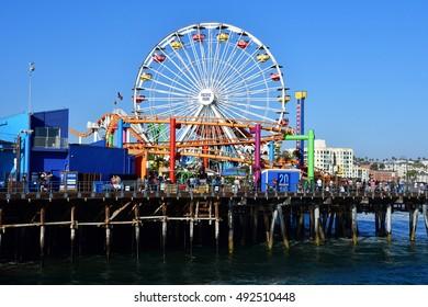 Santa Monica, California, USA - july 15 2016 : the picturesque pier in summer