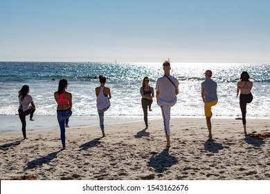 """SANTA MONICA, CALIFORNIA, USA - OCTOBER 6, 2019: """"Be Great! Beach Clean Up"""" is a Health and Wellness Beach Cleanup and Fundraiser. The event was free to the public."""
