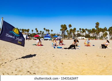 "SANTA MONICA, CALIFORNIA, USA - OCTOBER 6, 2019: ""Be Great! Beach Clean Up"" is a Health and Wellness Beach Cleanup and Fundraiser. The event was free to the public."