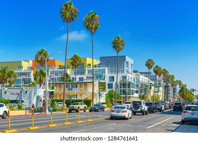 Santa Monica, California, USA - September 07, 2018: City views, Santa Monica streets - a suburb of Los Angeles.