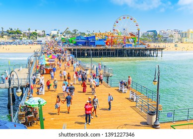 Santa Monica, California, USA - September 07, 2018: Famous Pier in Santa Monica with tourists, a suburb of Los Angeles.