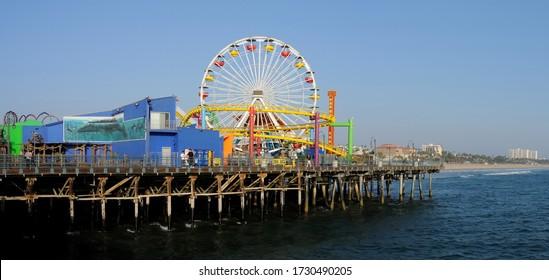 Santa Monica, California/U.S.A ;July 29, 2009 Panoramic view of the Santa Monica pier and fair