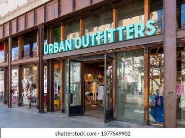 SANTA MONICA, CA/USA - APRIL 18, 2019: Urban Outfitters retail store exterior and trademark logo.