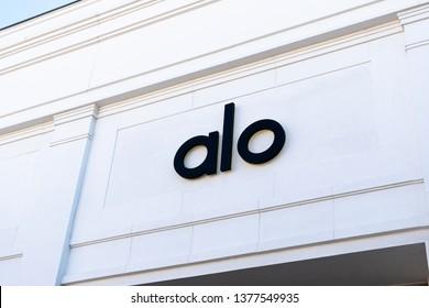 SANTA MONICA, CA/USA - APRIL 18, 2019: Alo Yoga Sanctuary and Meditation retail store exterior and trademark logo.