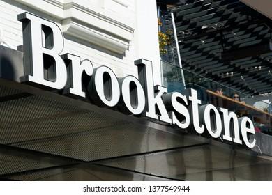SANTA MONICA, CA/USA - APRIL 18, 2019: Brookstone retail store exterior and trademark logo.