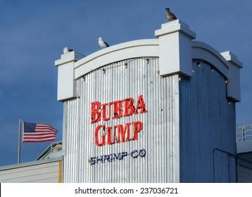 SANTA MONICA, CA/USA - DECEMBER 7, 2014: Bubba Gump Shrimp Company restaurant. The Bubba Gump Shrimp Company Restaurant and Market is a seafood restaurant chain inspired by the film Forrest Gump.