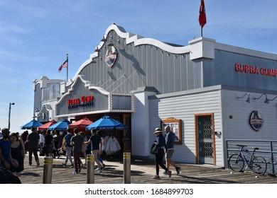 SANTA MONICA, CA/USA - JANUARY 30, 2020:  The famous Bubba Gump Shrimp Company on the Santa Monica Pier