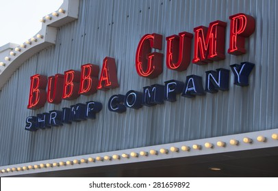 SANTA MONICA, CA/USA - MAY 26, 2014: Bubba Gump Shrimp Company restaurant. The Bubba Gump Shrimp Company Restaurant and Market is a seafood restaurant chain inspired by the film Forrest Gump.