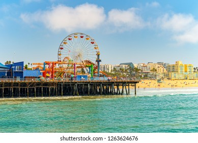 Santa Monica city, which is a suburb of Los Angeles and is located on the shores of the Pacific Ocean.