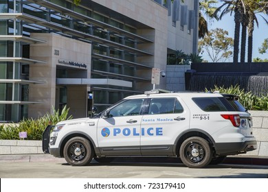 Santa Monica, JUN 21: Police car and Public Safety Facility on JUN 21, 2017 at Santa Monica, Los Angeles County, California, United States
