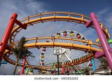 Santa Monica, Los Angeles, California - May 17, 2019: view of Pacific Park located on Santa Monica Pier