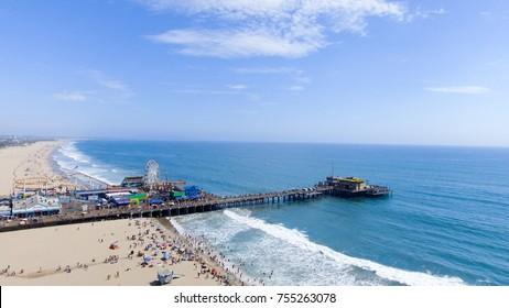 Santa Monica Pier aerial view, California - USA.
