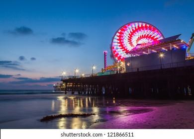 Santa Monica Pier and beach after sunset, California