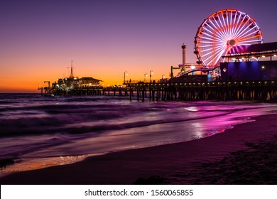Santa Monica Pier at colorful sunset