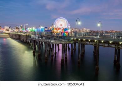 Santa Monica pier at night.