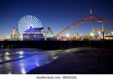 Santa Monica Pier at Night, Santa Monica, California