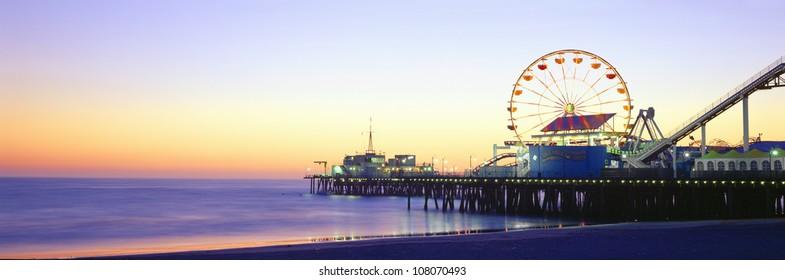 Santa Monica Pier at sunset, California