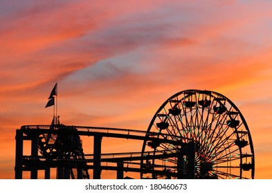 santa monica pier sunset silhouette