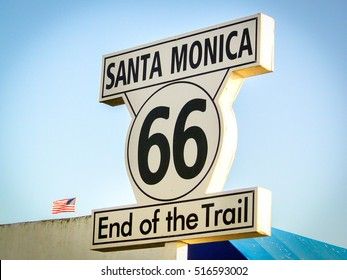 Santa Monica Route 66 End of the Trail sign California Los Angeles landmark vintage vignette on the road trip background