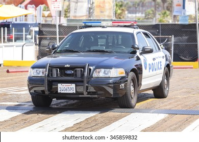 SANTA MONICA, USA - AUGUST 22, 2015: Santa Monica Police car parked in front of a pier. In 2014, crime in Santa Monica was at its lowest level in more than 50 years.