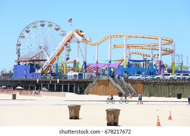 SANTA MONICA, USA - JUNE 12: Pacific Park amusement park on the Santa Monica Pier in Santa Monica, California on June 12, 2017