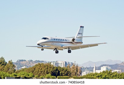 SANTA MONICA/CALIFORNIA - OCT. 22, 2017: Cessna 680 fixed wing multi engine aircraft approaches the runway to make a landing at Santa Monica Airport. Santa Monica, California USA