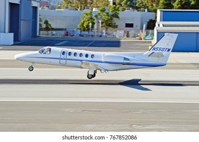 SANTA MONICA/CALIFORNIA - OCT. 22, 2017: Cessna 550 Citation Bravo aircraft coming in for a landing at Santa Monica Airport. Santa Monica, California USA