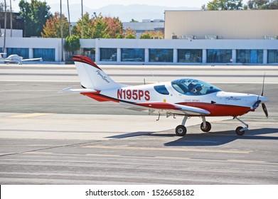 SANTA MONICA/CALIFORNIA - SEPT. 21, 2019: Cessna 190 fixed wing single engine aircraft taxiing along the tarmac at Santa Monica Airport. Santa Monica, California USA